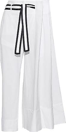 Thom Browne Thom Browne Woman Cropped Pleated Cotton-seersucker Wide-leg Pants White Size 42