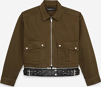 The Kooples Khaki denim jacket with leather-effect belt - WOMEN