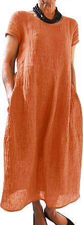 Yidarton Womens Maxi Dresses Summer Casual Beach Solid Color Loose Crew Neck Short Sleeve Long Dress with Pockets (2X-Large, Z-Orange)