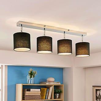 Lindby Lámpara de techo Mairi con pantallas negras y LED