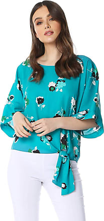 Roman Originals Floral 3/4 Sleeve Tie Front Top - Ladies Round Neck Comfortable Fashion Top for Formal Parties Party Gatherings Special Occasions Work Smart Wear Tops