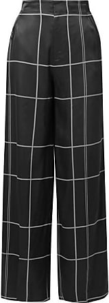 Equipment Berneen Checked Satin Wide-leg Pants - Black