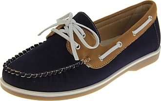 Footwear Studio Shoreside Womens Navy/Tan Deck Shoes UK 6