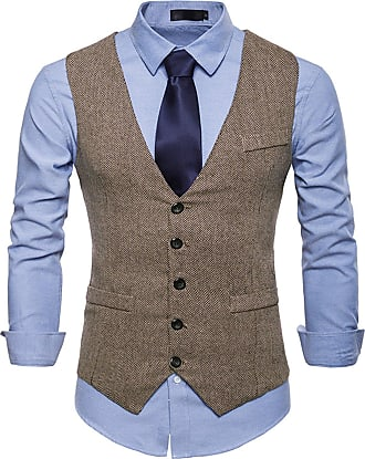 Whatlees Mens Tweed Checked Vest - Slim with Double-Breasted Button Placket BA0082-khaki-XXL