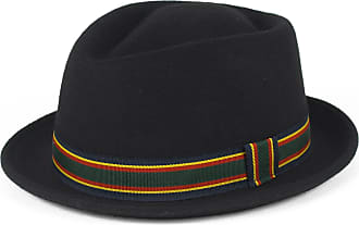 Hat To Socks Stylish Black Wool Pork Pie Hat Waterproof & Crushable, Handmade in Italy (Black, 56 cm)