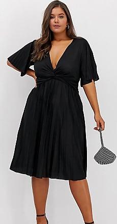 Asos Curve ASOS DESIGN Curve - Vestito midi a incrocio stile kimono a pieghe-Nero