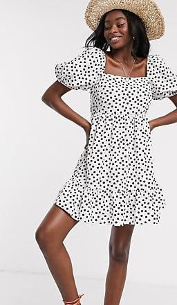 Miss Selfridge puff sleeve mini dress in ivory polka dot-Cream