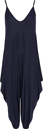 WearAll Womens Lagenlook Strappy Baggy Harem Jumpsuit Dress Top Playsuit Cami - Navy Blue - One Size