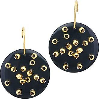 Tinna Jewelry Brinco Dourado Resina Com Bolinhas (Preto)