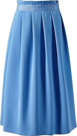 Madeleine Langer Faltenrock mit dekorativem Hüftband in blau MADELEINE Gr 17, irisblau für Damen. Acetat. Waschbar