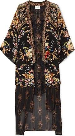 Camilla Embellished Floral-print Silk Crepe De Chine And Voile Kimono - Black