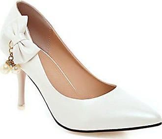 6da285d1e9df83 AgooLar Damen PU Stiletto Spitz Schließen Zehe Ziehen auf Pumps Schuhe