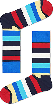 Happy Socks Colourful Classic Print Cotton Socks for Men and Women, Stripe Blue/Red (36-40)