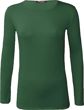 Womens Ladies Plain V-NECK T-SHIRT Long Sleeve Top Size UK 8-26