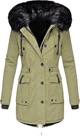 VITryst Womens Winter Coats Hooded Warm Faux Fur Lined Jacket Outwear Parka Anroak Long Coats,Green,XX-Small
