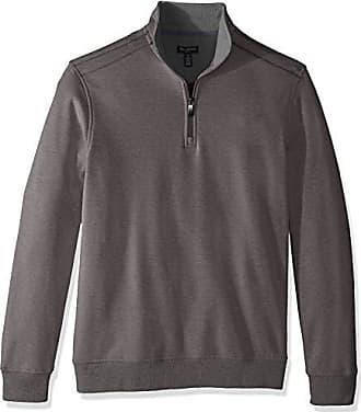 Van Heusen Mens Long Sleeve Spectator Solid 1/4 Zip Shirt, grey nickel grey, Large