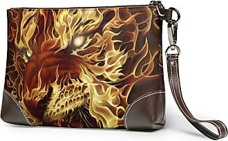 GLGFashion Womens Leather Wristlet Clutch Wallet Fire Tiger Head Storage Purse With Strap Zipper Pouch