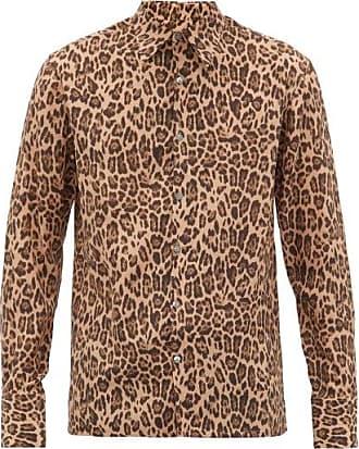 73 London Leopard-print Silk-georgette Shirt - Mens - Brown Multi