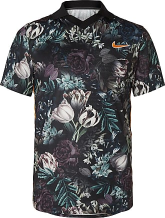 32e02408f691e Nike Nikecourt Slam Striped Floral-print Dri-fit Tennis Polo Shirt - Black