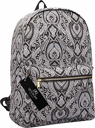 Quenchy London Ladies Backpack, Girls Casual Daypack Bag for School, Work or Hand Luggage Travel 20 Litre Size 39cm x32 x16 QL7163K (Black Paisley)