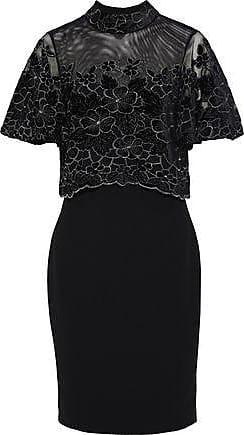 Badgley Mischka Badgley Mischka Woman Layered Velvet-appliquéd Tulle And Crepe Dress Black Size 10