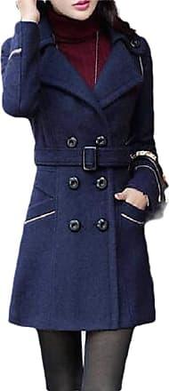 H&E Women Winter Warm Woollen Blend Double Breasted Pea Coat with Belt Navy Blue M