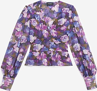The Kooples Buttoned purple top with print - WOMEN