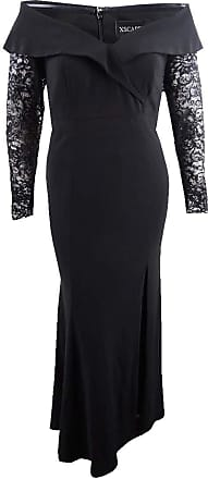 Xscape Womens Black Lace Sleeve Gown Long Sleeve Off Shoulder Maxi Evening Dress Size: 6