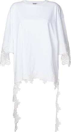 FAUSTO PUGLISI Camiseta oversized com acabamento de renda - Branco