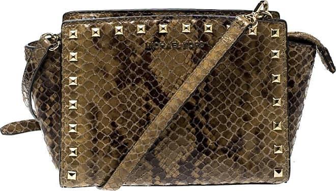 552e50484834 Michael Kors. Michael Michael Kors Brown Python Embossed Leather Studded  Shoulder Bag