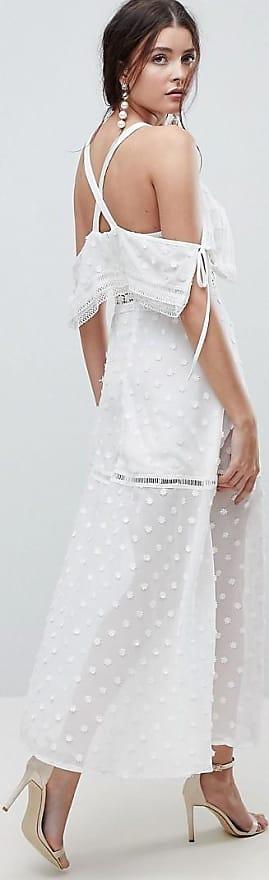 f76c2a07c0cd Hinten überkreuztes, mittellanges Folk-Kleid in Lagenoptik - Weiß