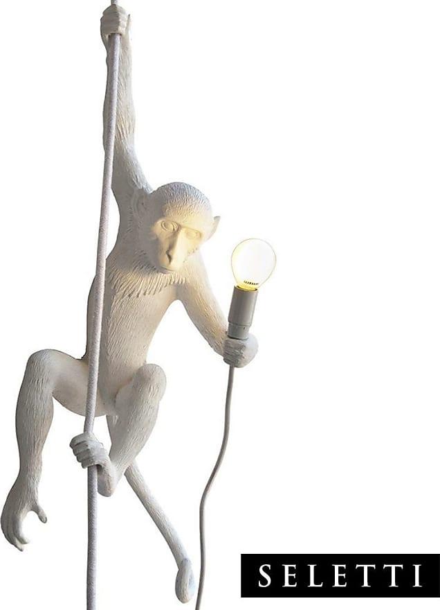Monkey Lamp Appesa con corda lampada a forma di scimmia bianco