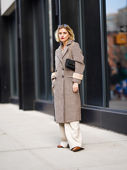 6 fall runway trends to shop right now, fall 2020 fashion trends, nyfw 2020 trends, houndstooth jacket, check jacket, check trench coat