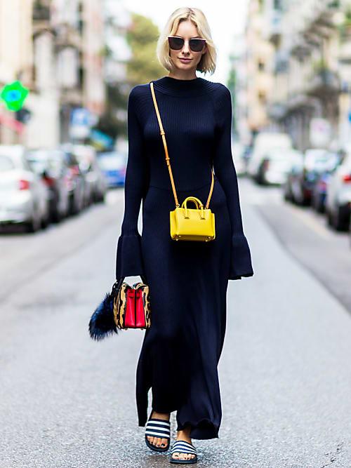 schwarzes strickkleid kombinieren