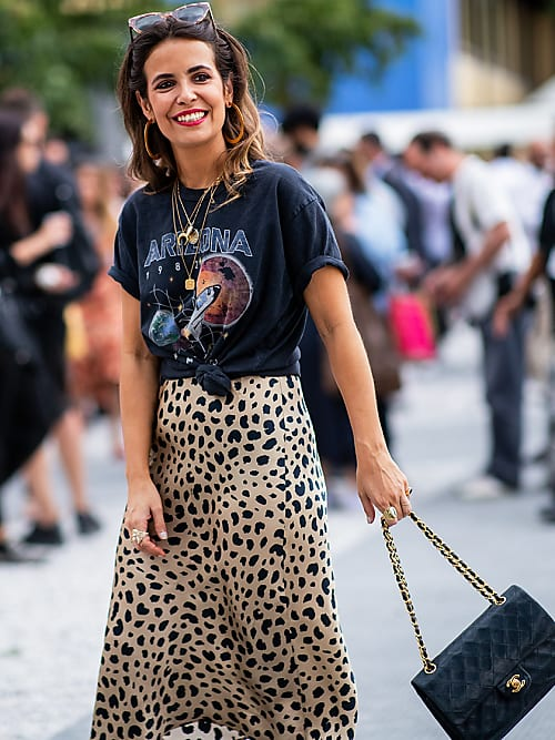Leopard slip dress with t-shirt