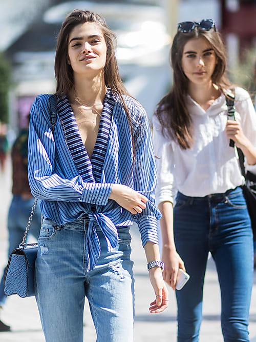 Mode Trendy Damen Mädchen Skinny Enge Jeans Zerrissen Ausgeschnitten Hose