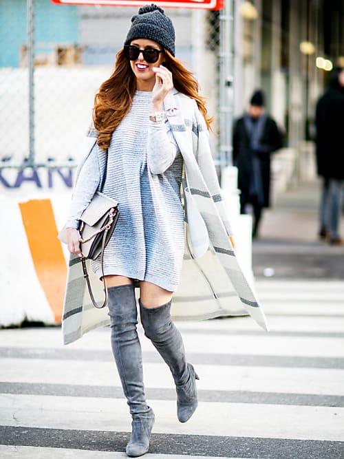 Strickkleid kombinieren: Die schönsten Streetstyles   Stylight