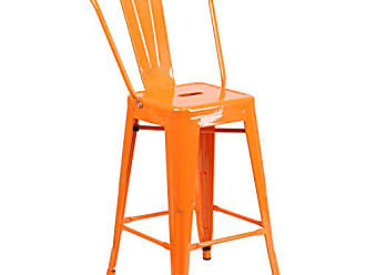 Flash Furniture CH-31320-24GB-OR-GG High Metal Indoor-Outdoor Counter Height Stool with Back, 1 Pack, Orange