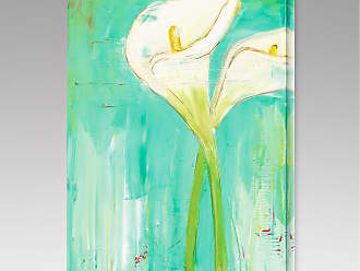 Gallery Direct Calla Lilies on Teal Indoor/Outdoor Canvas Print by Laura Gunn - NE37392