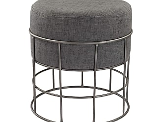 Dimond Home Pewter and Grey Linen Stool