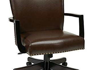 Office Star INSPIRED by Bassett Morgan Managers Chair with Thick Padded Bonded Leather Seat and Back with Steel Reinforced Wood Base and Dual Wheel Carpet Casters, Espresso