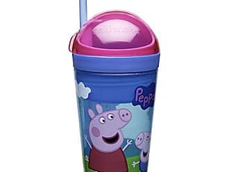 Zak designs Peppa Pig ZakSnak All-In-One Drink Tumbler + Snack Container For Toddlers - Spill-proof 4oz Snack Container Screws Securely Onto 10oz Tumbler With Accessible Straw, Peppa Pig