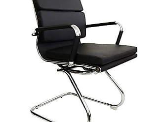 Pelegrin Cadeira Interlocutor Design Charles Eames em Couro Pu Preta Pelegrin Pel-7089v