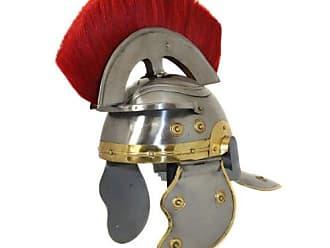Urban Designs Antique Replica Roman Centurion Red Plume Galea Helmet, Silver/Gold