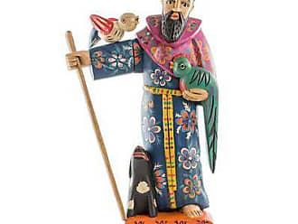 Novica Pinewood sculpture, Saint Francis with a Quetzal