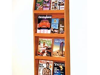 Wooden Mallet 16-Pocket Slope Literature Display, Medium Oak
