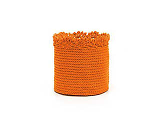 Heritage Lace Mode Crochet Round Basket with Crochet Edge, 6 by 6-Inch, Orange