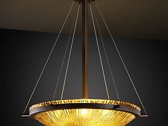 Justice Design GLA-9692-35-AMBR - Ring 27 in. Pendant - Round Bowl Shade with Amber Glass Dark Bronze - GLA-9692-35-AMBR-DBRZ-LED5-5000