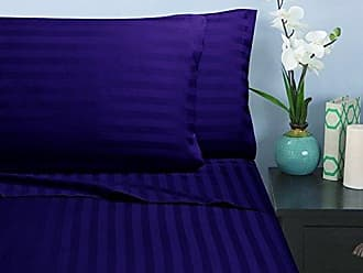 Elegant Comfort Wrinkle & Fade Resistant 1500 Thread Count - Damask Stripes Egyptian Quality Luxurious Silky Soft 4pc Sheet Set, Up to 16 Deep Pocket, King, Purple