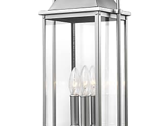 Feiss Wellsworth - 3 - Light Post Lantern in Painted Brushed Steel